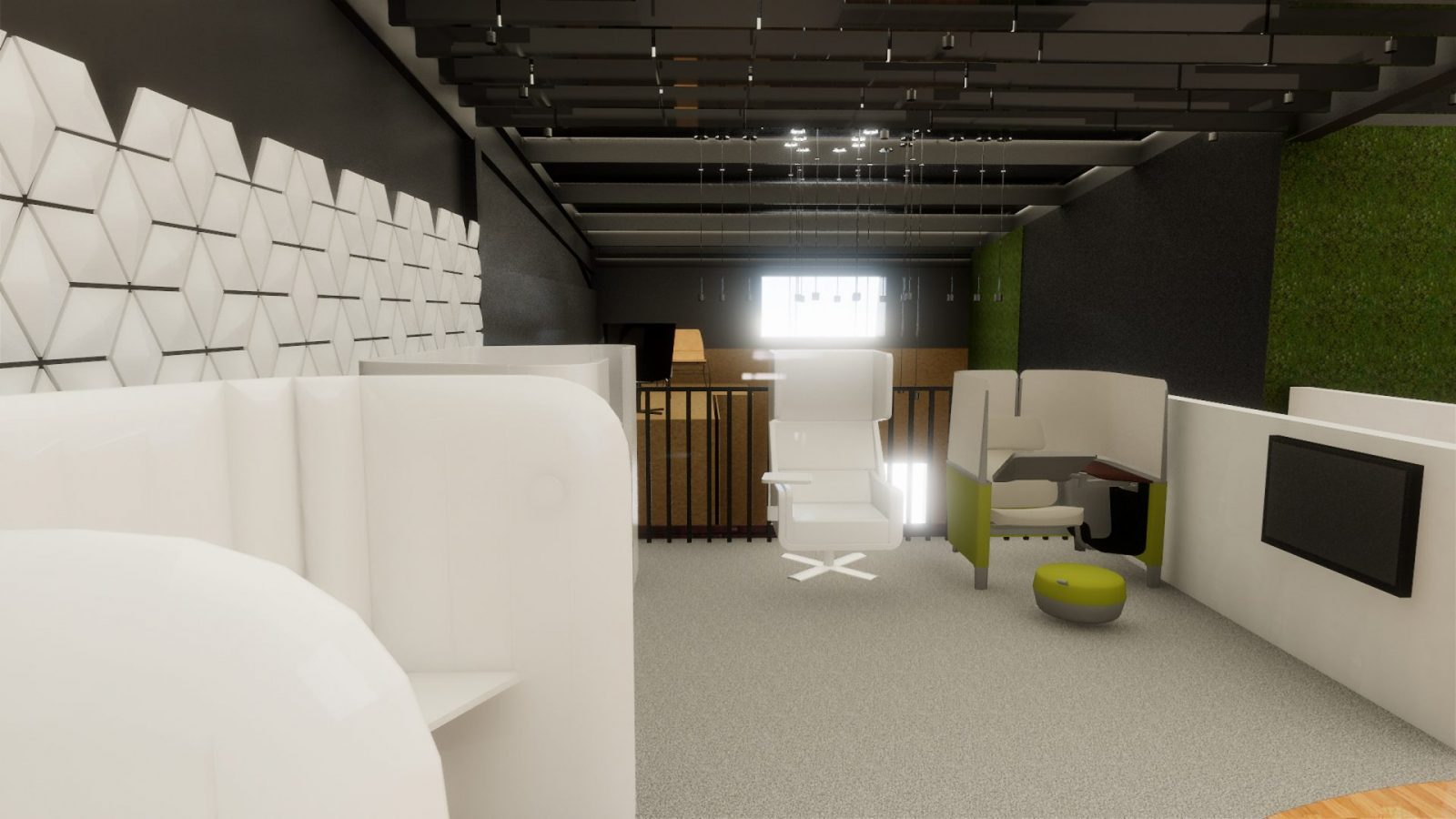 POS agile working showroom guernsey st helier offices refurb interiors architects jersey architecture21